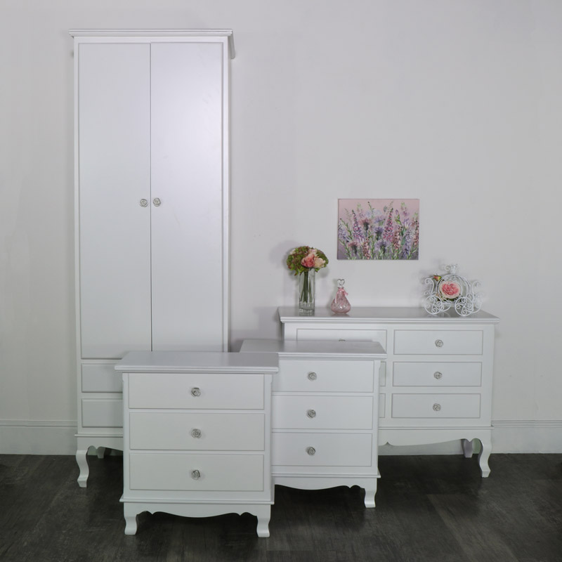 White Bedroom Set, Wardrobe, Chest of Drawers and a Pair of Large Bedside Chests - Lila Range