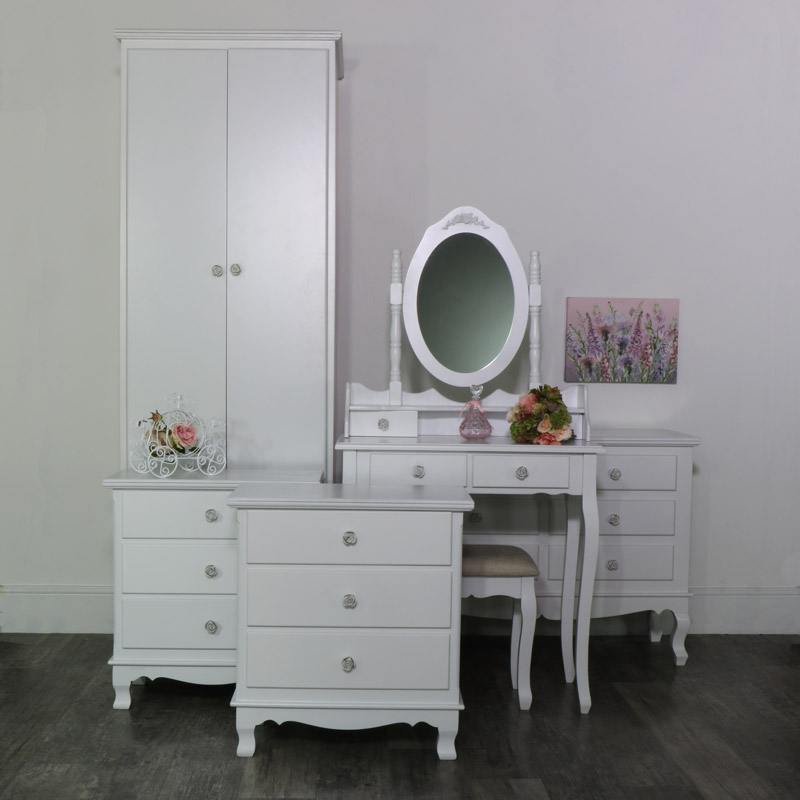 White Bedroom Set, Wardrobe, Dressing Table Set, Chest of Drawers and a Pair of Bedside Chests - Lila Range