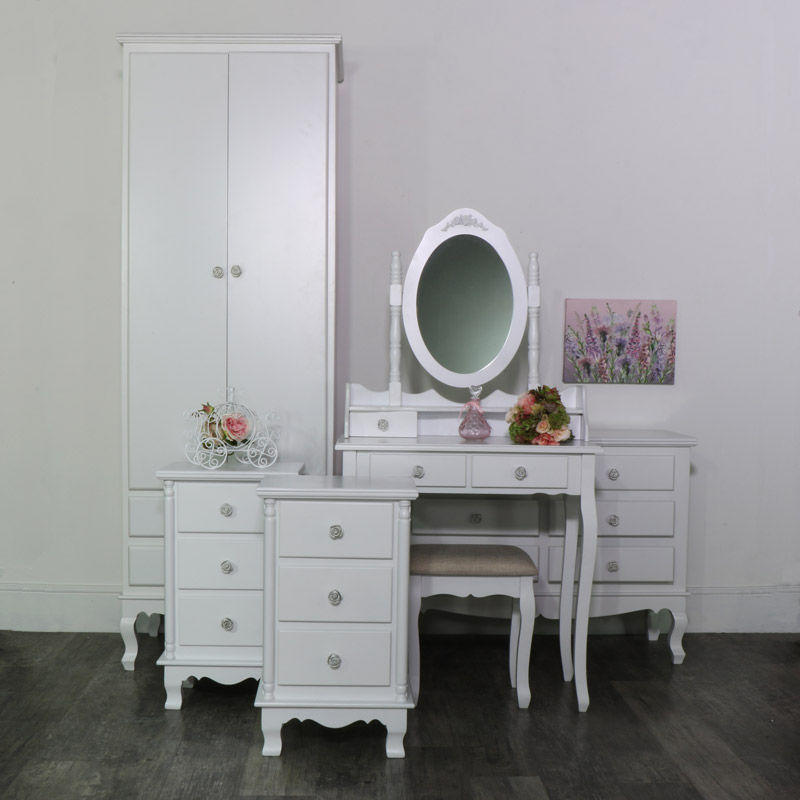 white bedroom set wardrobe dressing table set chest of. Black Bedroom Furniture Sets. Home Design Ideas