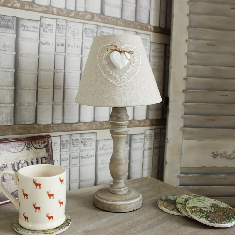Beige Linen Heart Table Lamp