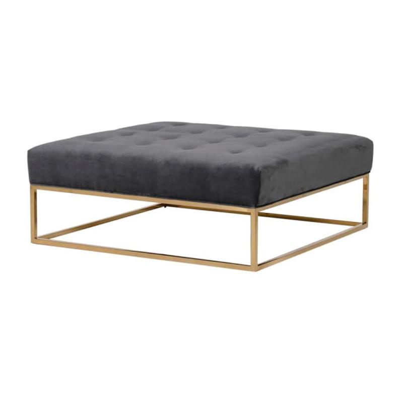 Grey Velvet Gold Framed Bench