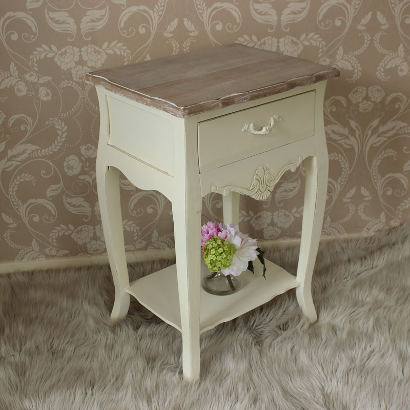 cream bedside table storage cabinet country style bedroom ...
