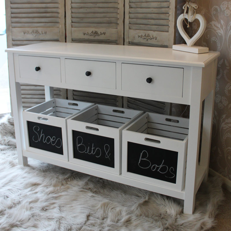 console table hall unit storage boxes drawers crates chalk board white
