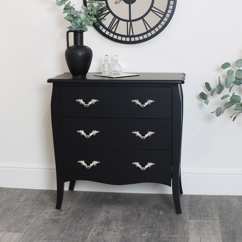 Black 3 Drawer Chest of Drawers with Gold Handles