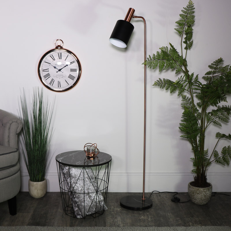 Black and Copper Metal Floor Lamp with Marble Base