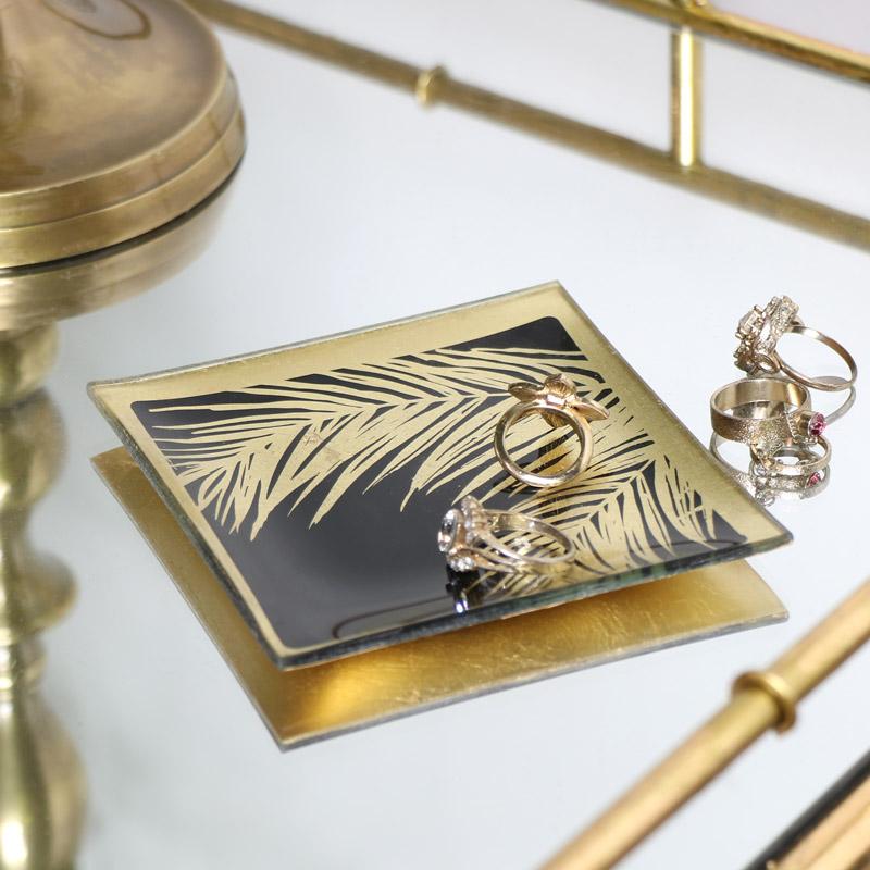Black & Gold Leaf Print Glass Tray