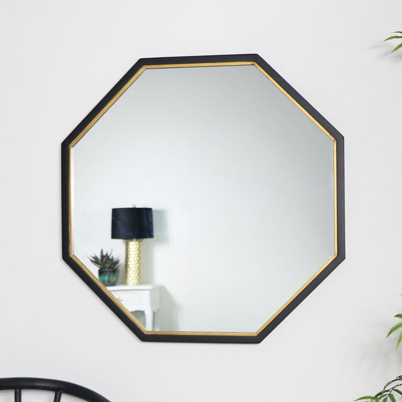 Black & Gold Octagon Wall Mirror