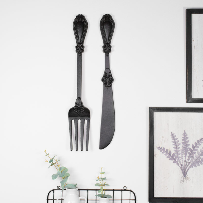 Black Metal Knife & Fork Cutlery Wall Art