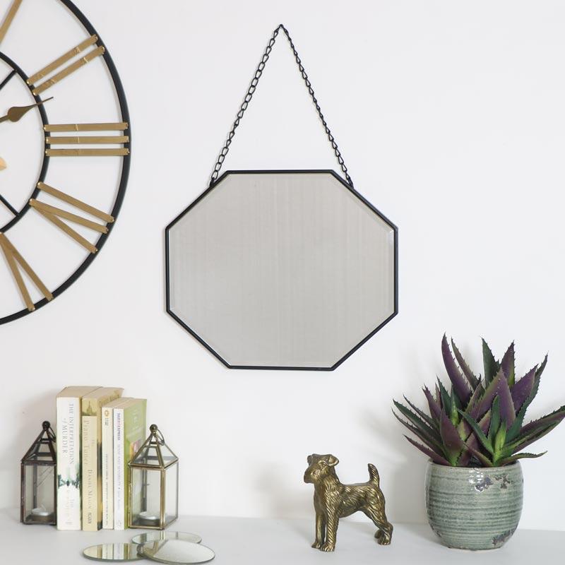 Black Octagonal Wall Mirror