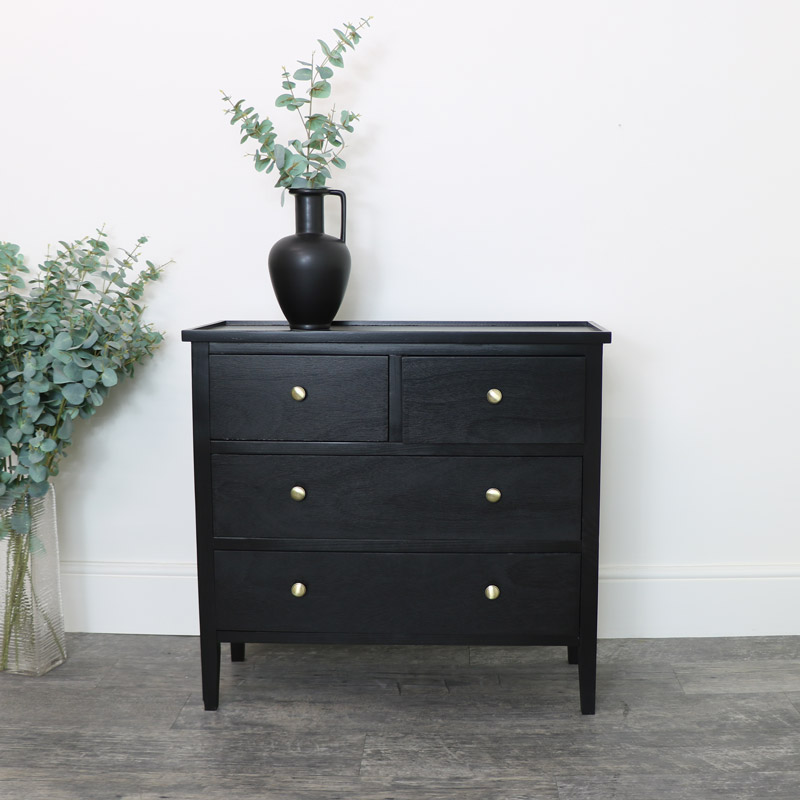 Black 4 Drawer Chest of drawers with gold knobs