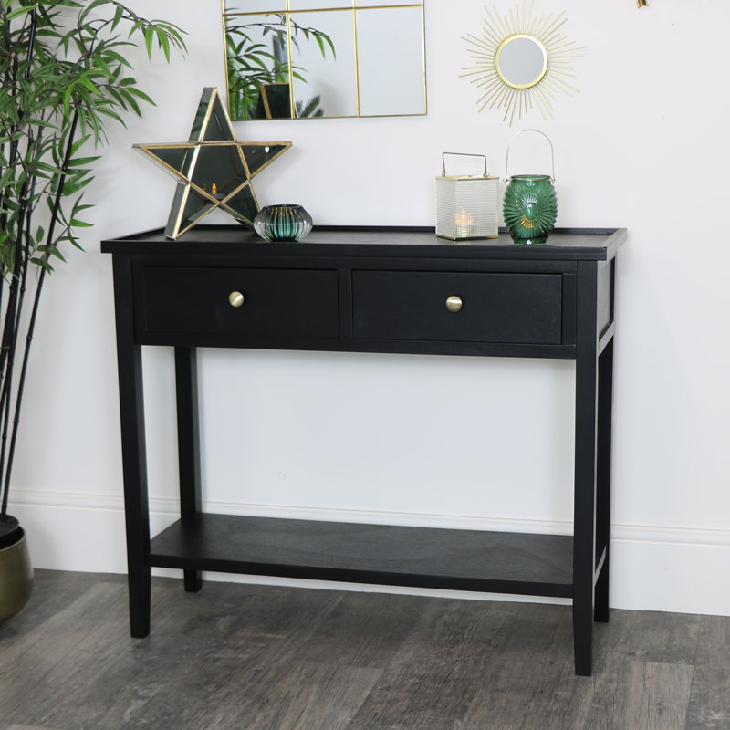 Black Pine Wood Console Table