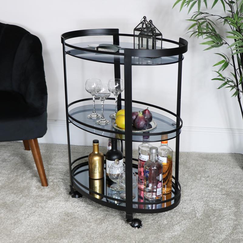 Black Smoked Glass Drinks Trolley