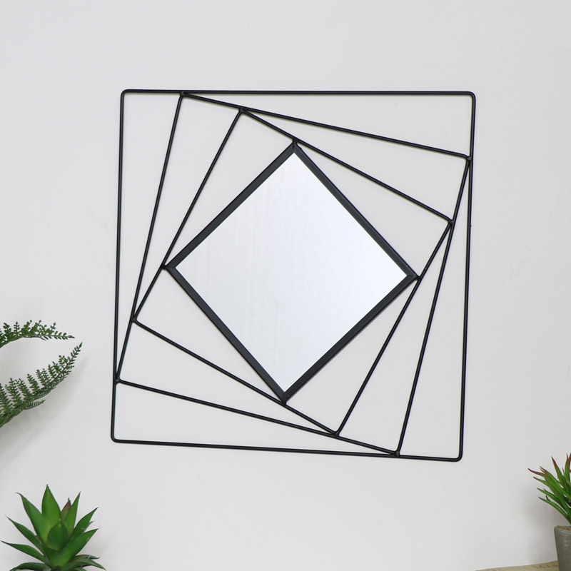 Black Square Wall Mirror 40cm x 40cm
