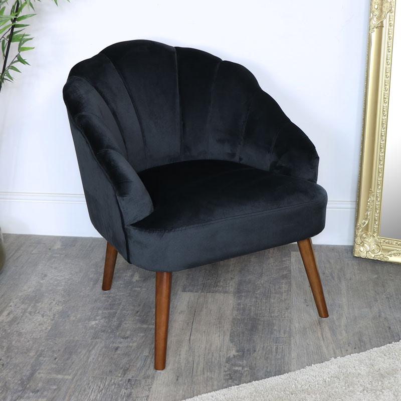 Black Velvet Shell Chair