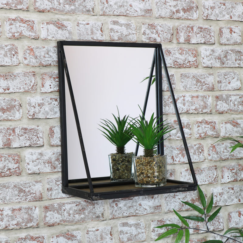 Black Wall Mirror with Shelf 29cm x 38cm