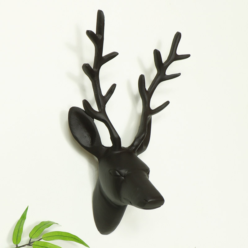 Black Wall Mounted Stag Head