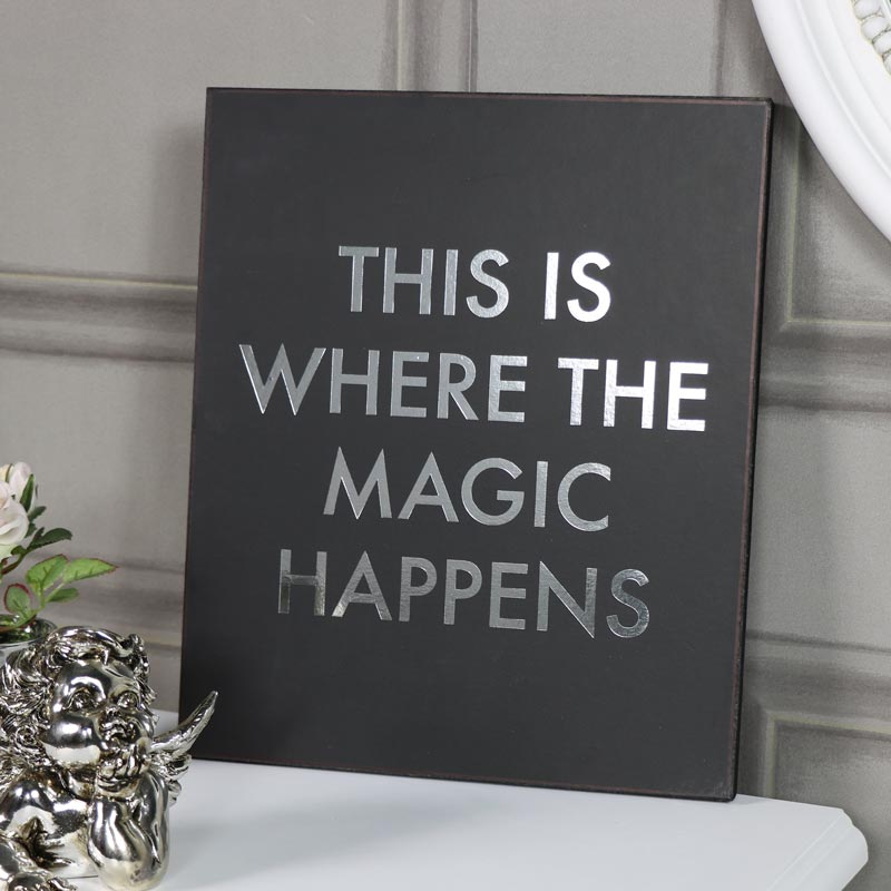 "Black Wall Plaque ""This is Where the Magic Happens"""