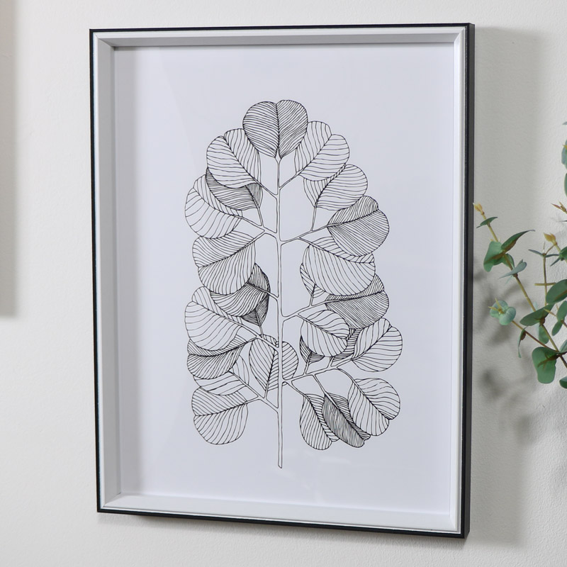 Black & White Branch Line Drawing Wall Print