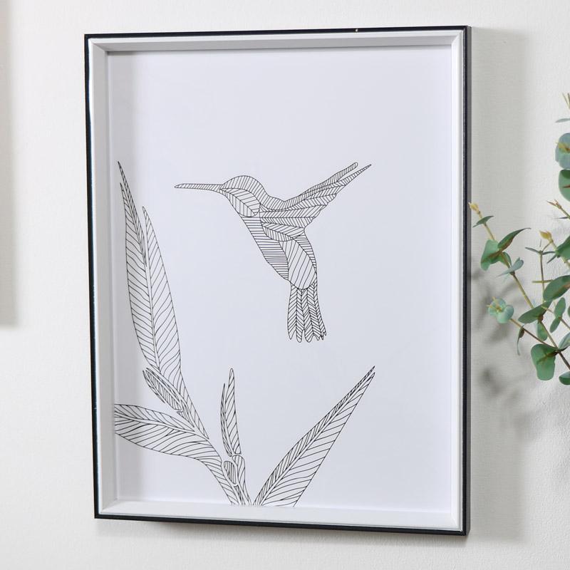 Black & White Hummingbird Line Drawing Wall Print