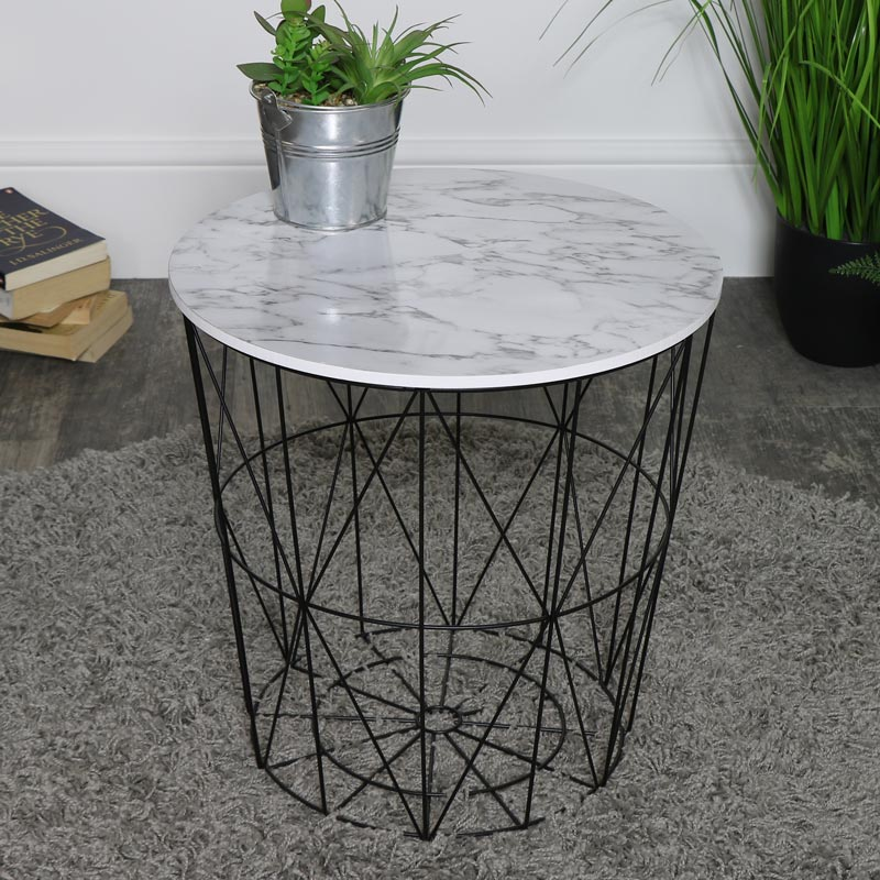 Black & White Marble Effect Wire Basket Side Table