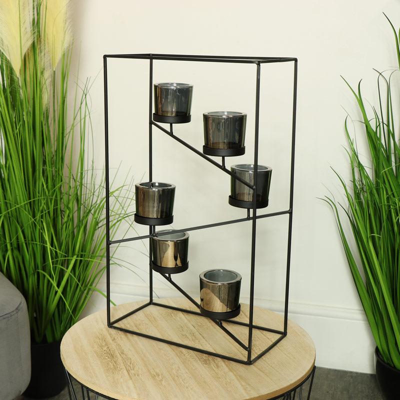 Black Wire Metal Framed Candle Holder