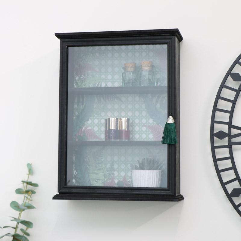 Black Wooden Fern Wall Cabinet