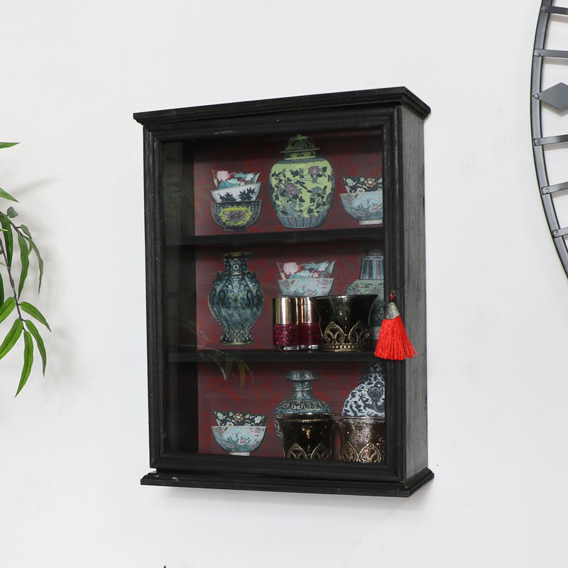 Black Wooden Wall Cabinet
