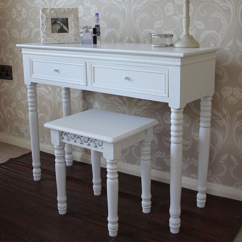 White shabby chic french style dressing table and stool for Range dressing table