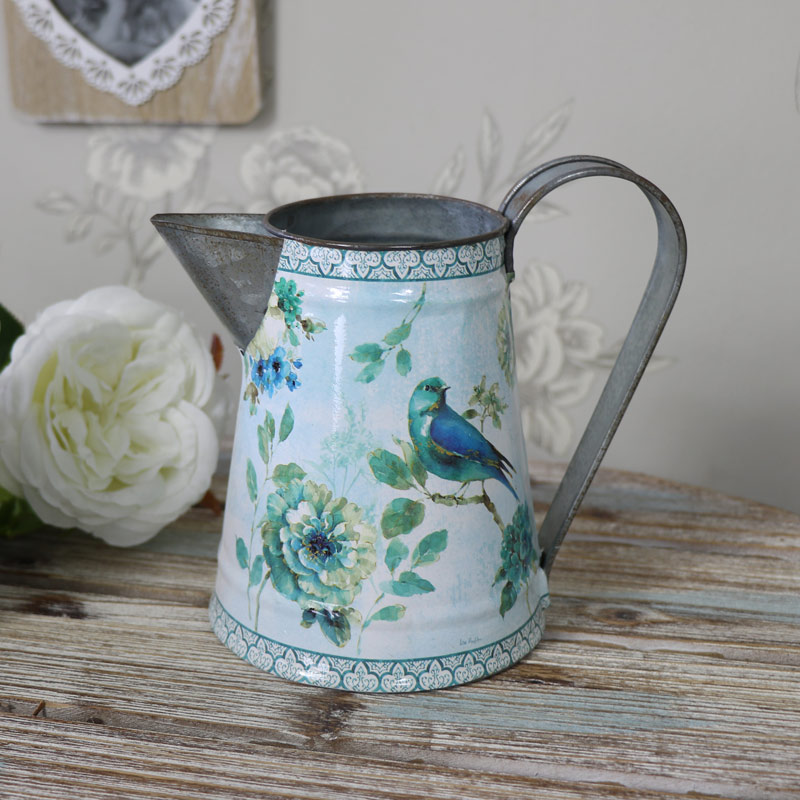 Blue Bird Metal Jug