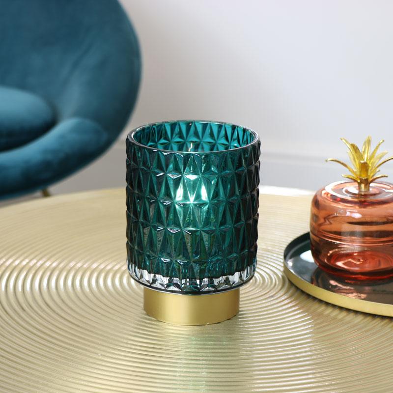 Blue & Gold Glass LED Light