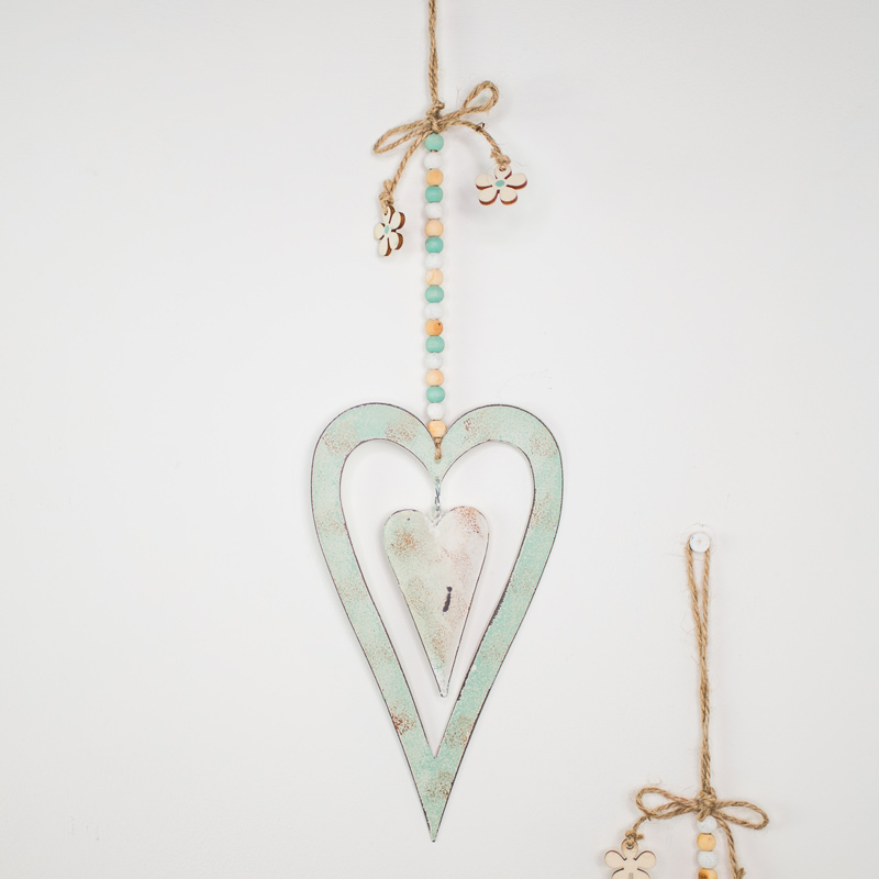 Blue Metal Hanging Heart Decoration