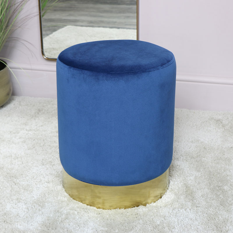 Details about Blue Velvet Stool with Gold Base vintage round luxury seating  bedroom decor