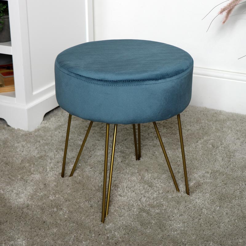 Blue Velvet Stool with Gold Legs