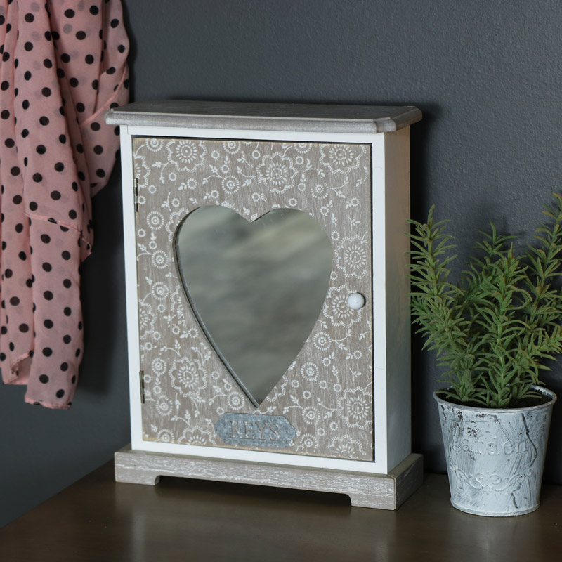 BOHO Key Cabinet With Heart Mirror