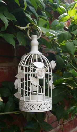 Cream birdcage tealight holder