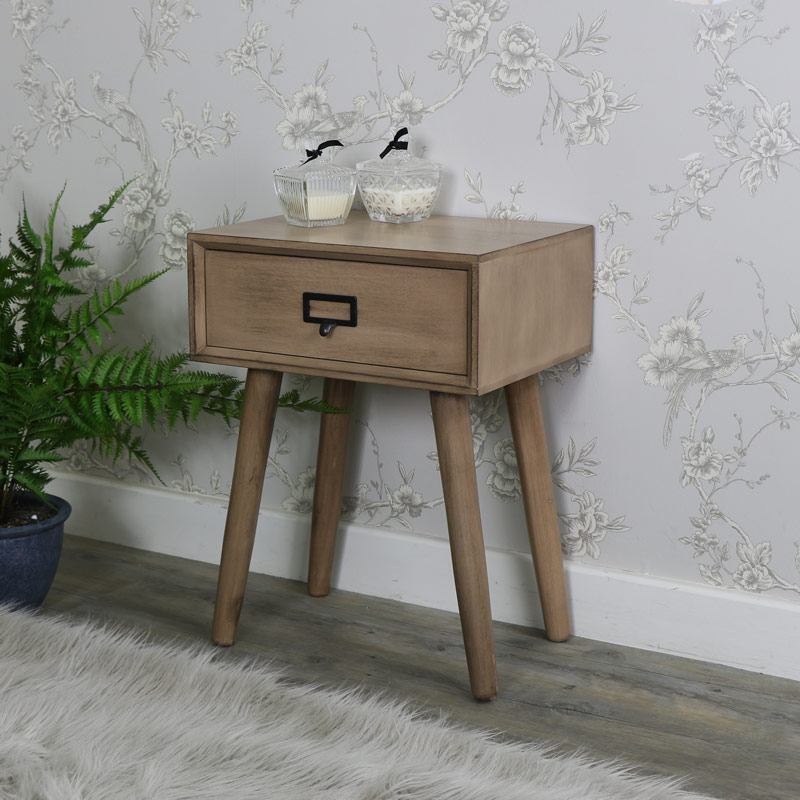 Brown Wooden Retro Industrial Bedside Table - Brixham Range