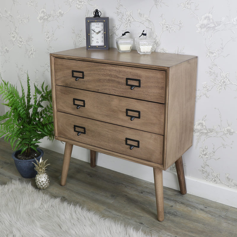 Retro Style Brown Wooden 3 Drawer Chest of Drawers - Brixham Range DAMAGED SECOND 1050