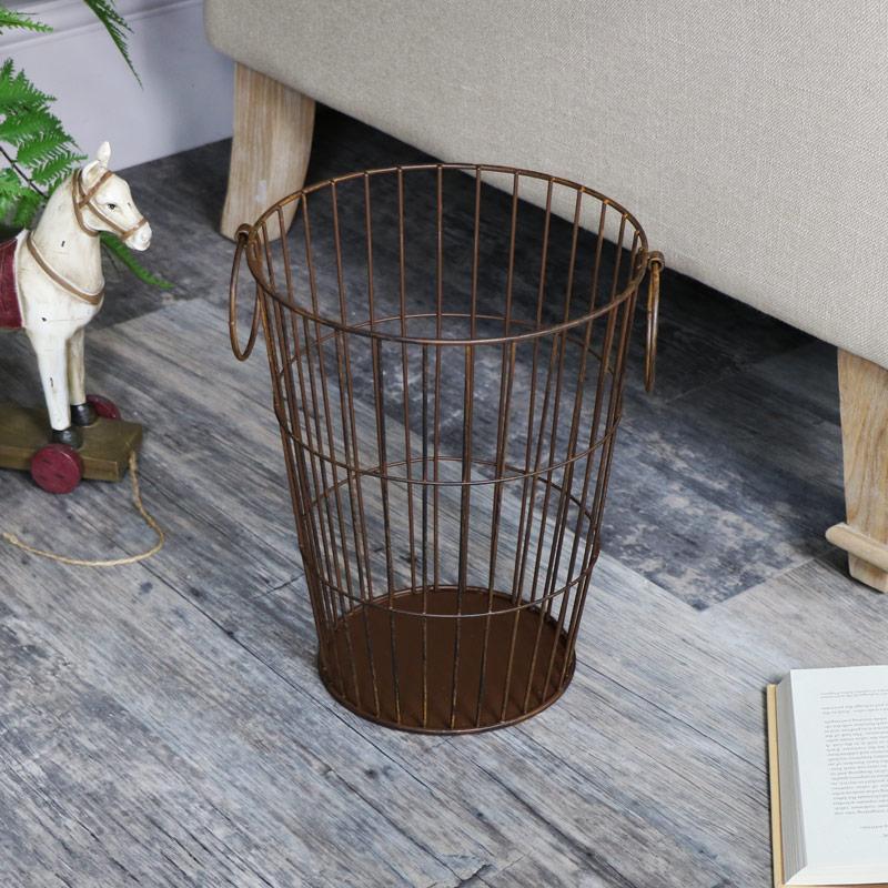 Rustic Metal Waste Paper Basket Bin