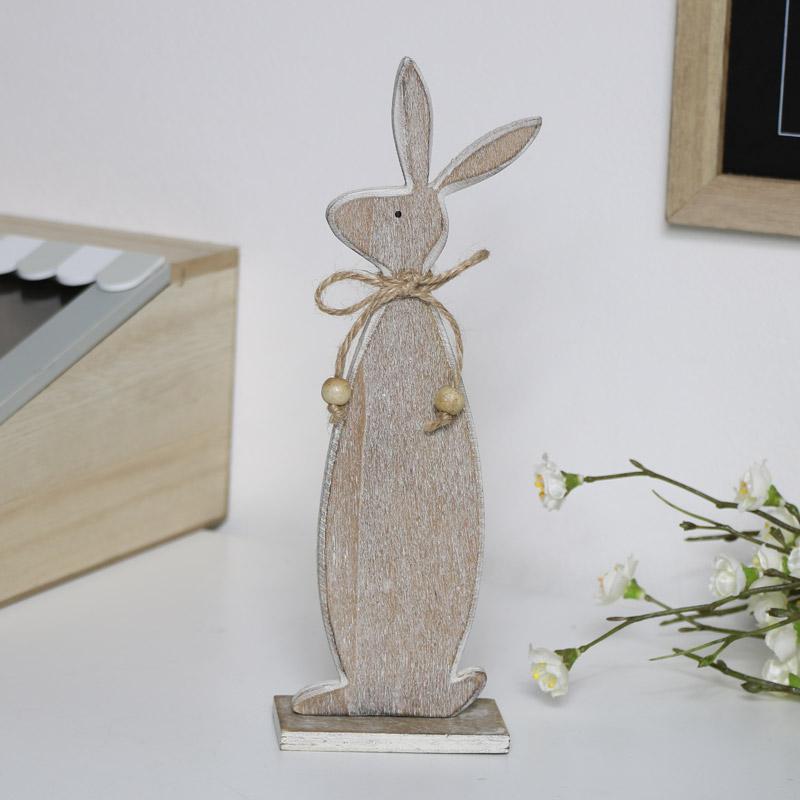 Brown Wooden Rabbit Decoration