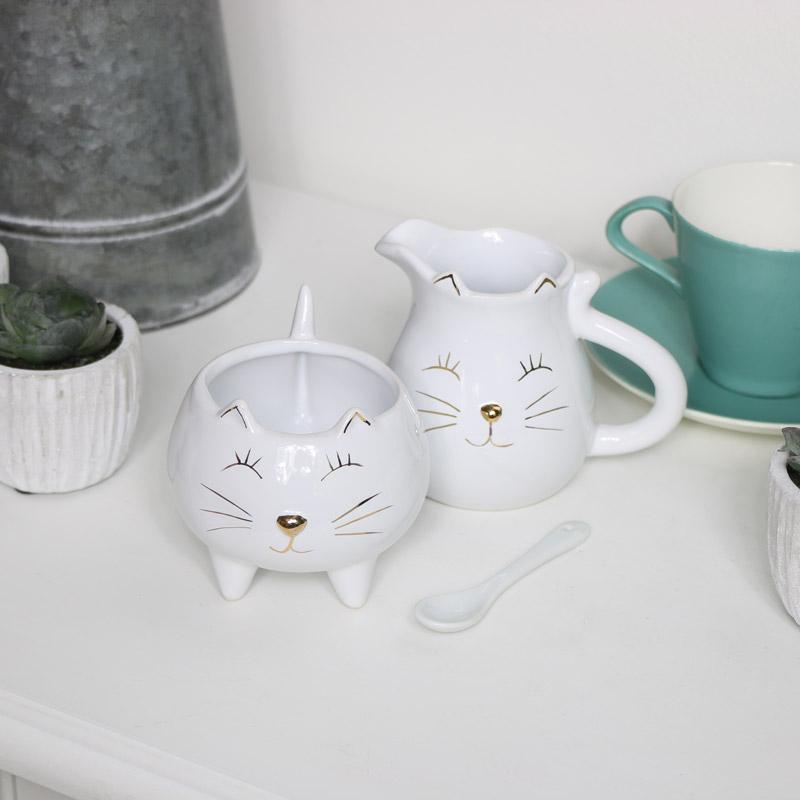 Ceramic Cat Sugar & Cream Set