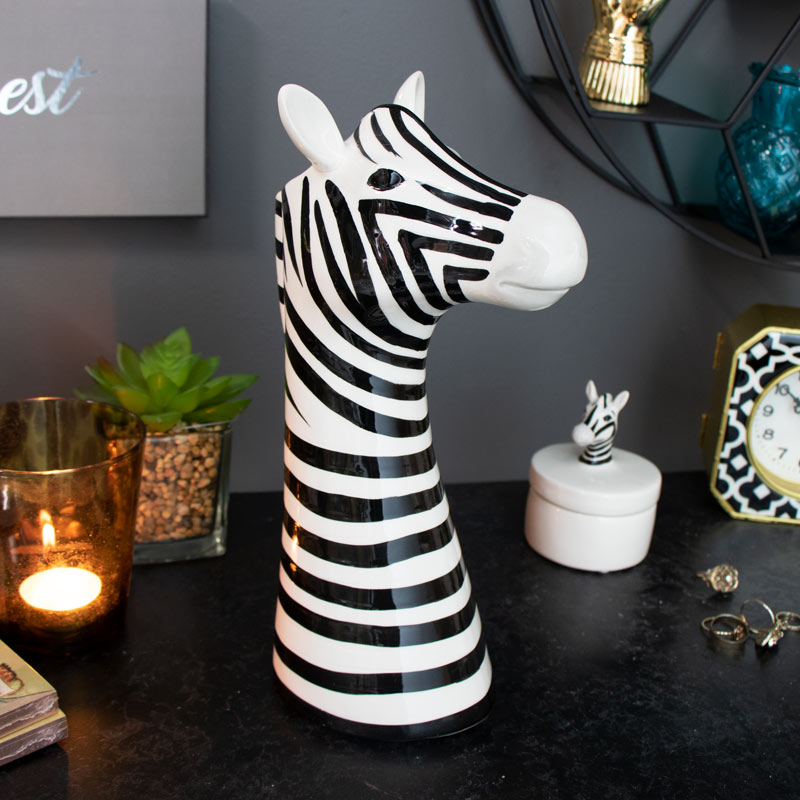 Ceramic Zebra Head Flower Vase