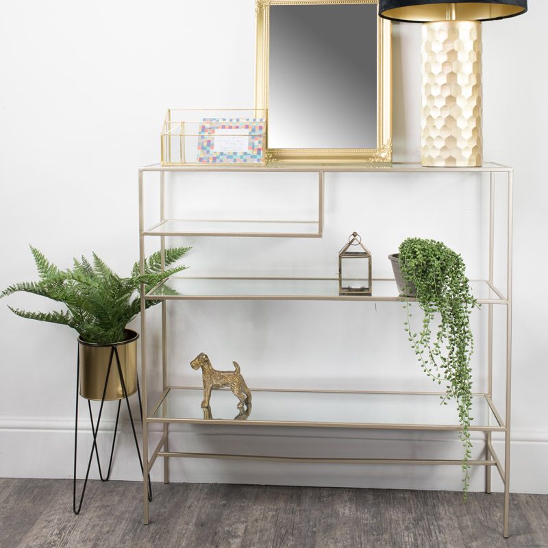 Champagne Glass Multi Shelf Console Table