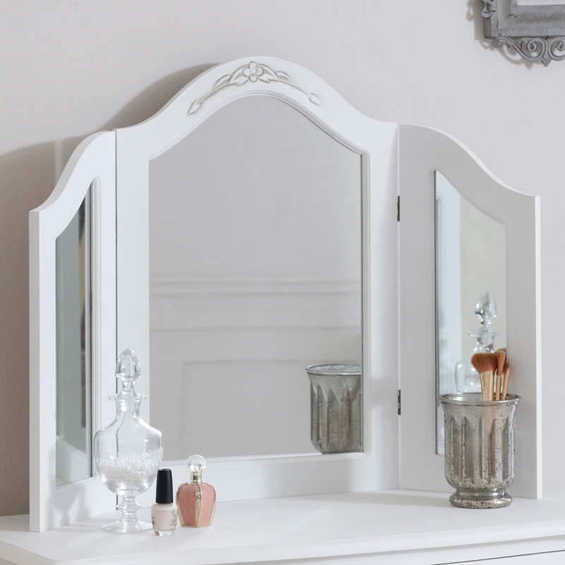 Classic white triple dressing table mirror melody maison