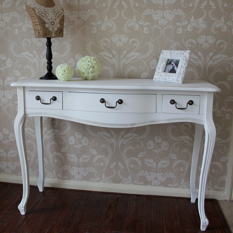Classic white french style wooden three drawer console dressing hall table chic ebay - White hall table uk ...