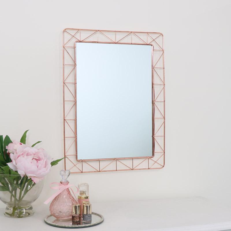 Copper Wire Wall Mirror 55cm x 41cm