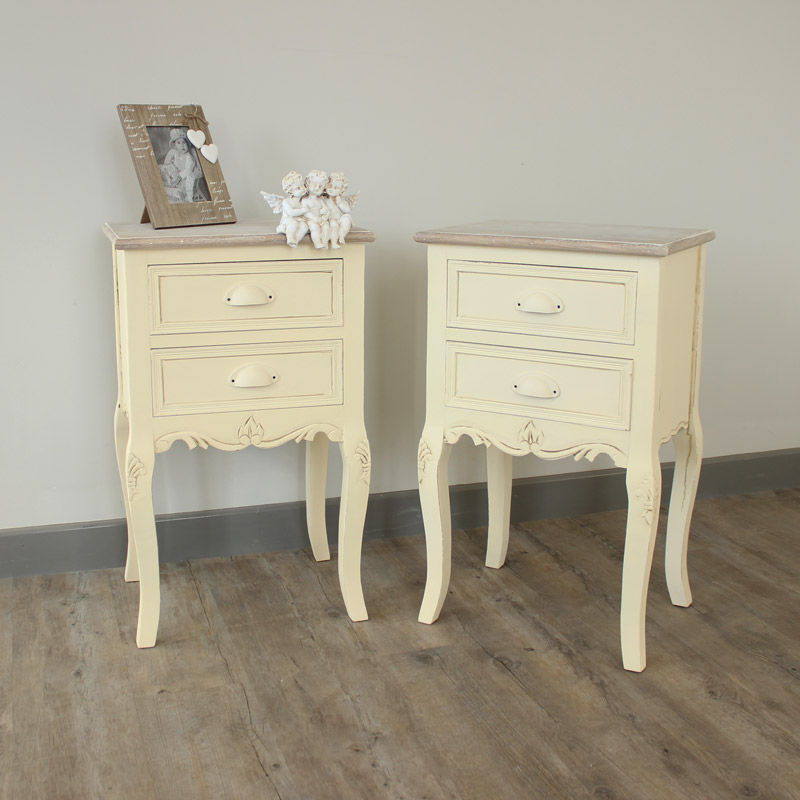 Pair of 2 Drawer Bedside Tables - Country Ash Range