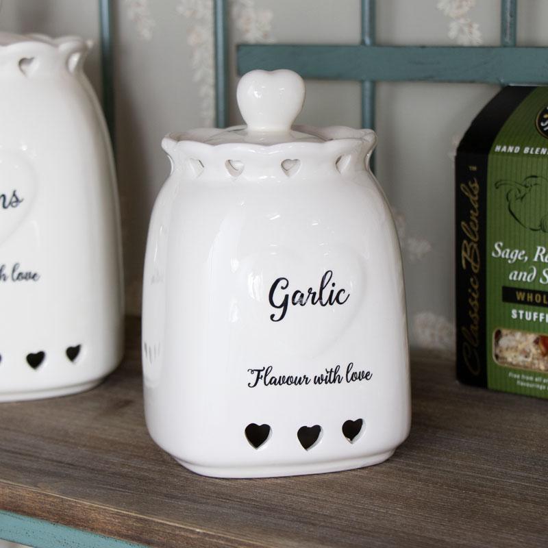 Country Heart Garlic Storage Jar