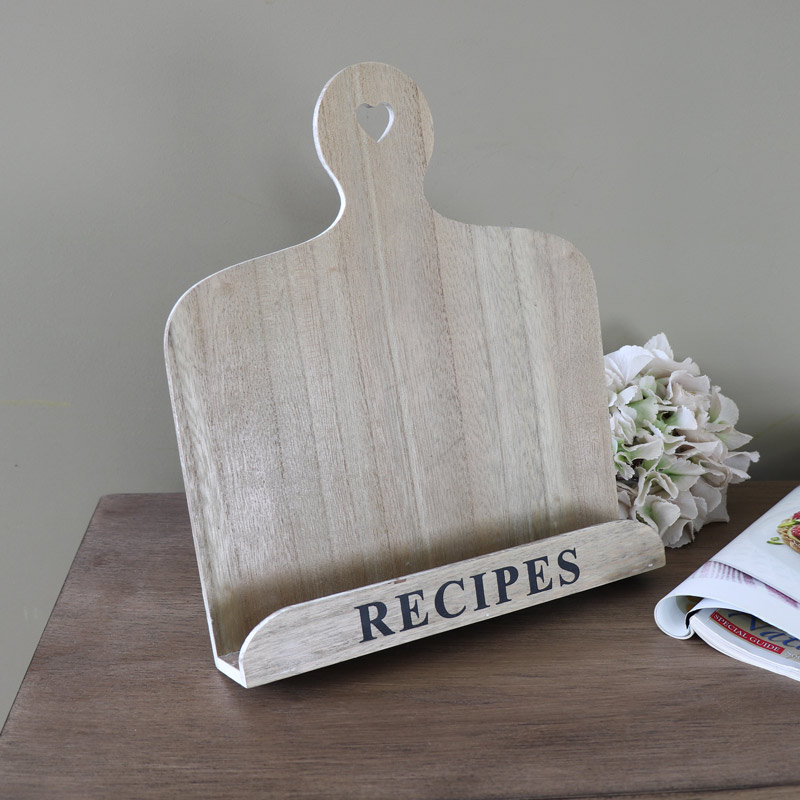 Country kitchen wooden recipe book holder melody maison - Cream recipe book stand ...