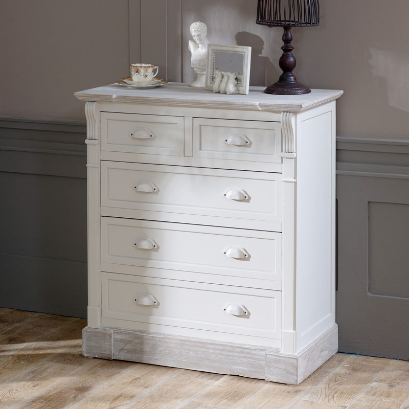 Antique White 5 Drawer Chest Of Drawers Lyon Range