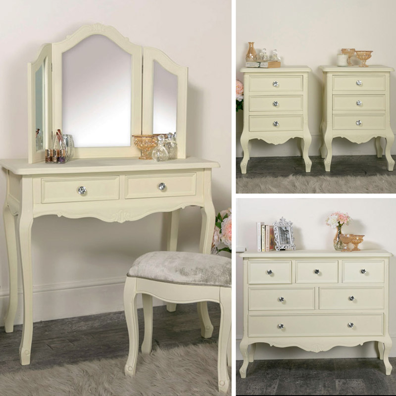 Cream Bedroom Furniture, Chest of Drawers, Dressing Table & Bedside Tables - Elise Cream Range